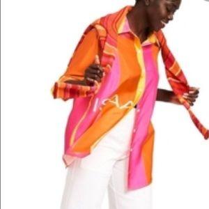 NWT Isaac Mizrahi silk button up shirt
